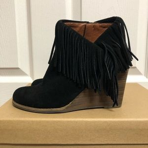 Lucky Brand Black Yachin Suede Bootie 6.5